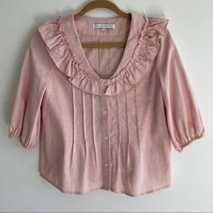 NWOT English Factory Pink Ruffle Blouse